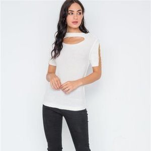 Ivory Cut Out Chain Sleeve Top